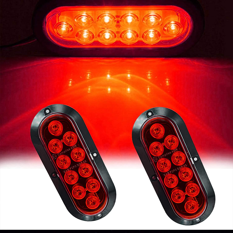 Pack of 2 NBWDY Waterproof 6 Inch Oval Red Sealed 10LED Stop Brake Turn Trailer Side Marker Tail LED Light Kit for Truck Trailer Bus Lorry Van Caravan RV UTV Vans
