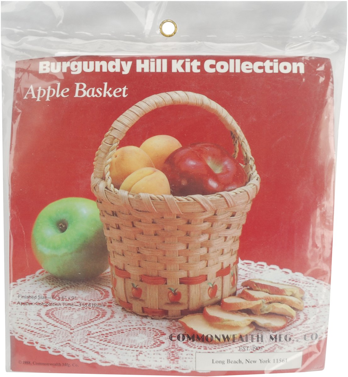 Commonwealth Basket Burgundy Hill Basket Kits, Apple Basket 6-Inch by 6-Inch by, 9-Inch 12800-12842