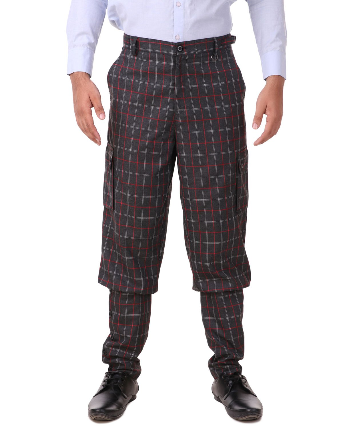 ThePirateDressing Steampunk Victorian Cosplay Costume Mens Airship 100% Cotton Pants Trousers C1348 (Black+ Red Check (100% Cotton Fabric)) (X-Large)