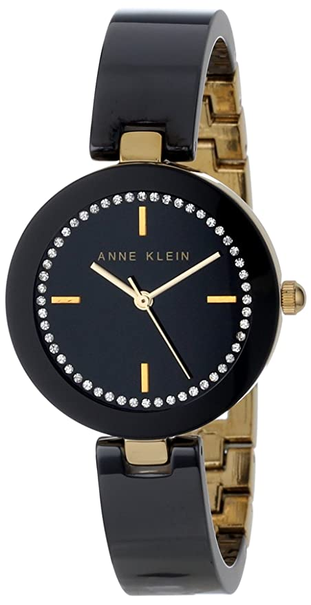 Anne Klein Women's AK/1314BKBK Swarovski Crystal Accented Gold-Tone Black Ceramic Bangle Watch