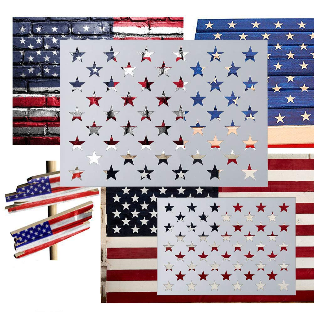American Flag 50 Star Stencil For Painting On Wood Paper Fabric