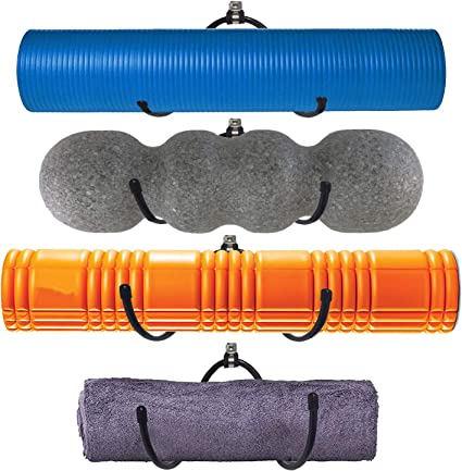 Amazon Com Metal Adjustable Wall Rack Multi Purpose Shelf For Foam Roller Racks Yoga Mat Storage Exercise Mat Organizer Bath Towels Holder For Your Fitness Class Or Home Gym Bathroom Up To 20lbs