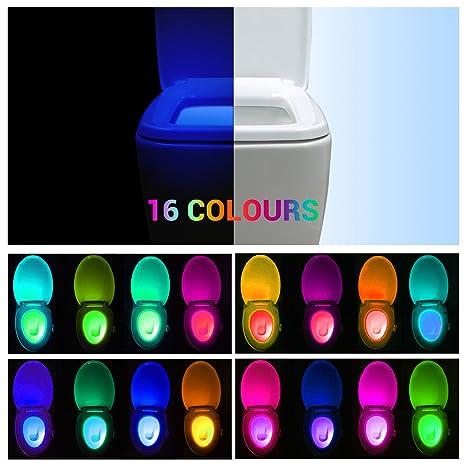 Movimiento activado baño luz nocturna, avanzada 16-colors cambios LED brilla en la luz