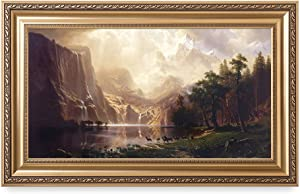 DECORARTS - Among The Sierra Nevada, California - Albert Bierstadt. Art Reproductions. Giclee Printed w/Embossed Golden Frame for Home Wall Art Decor, Framed Size: 36x22