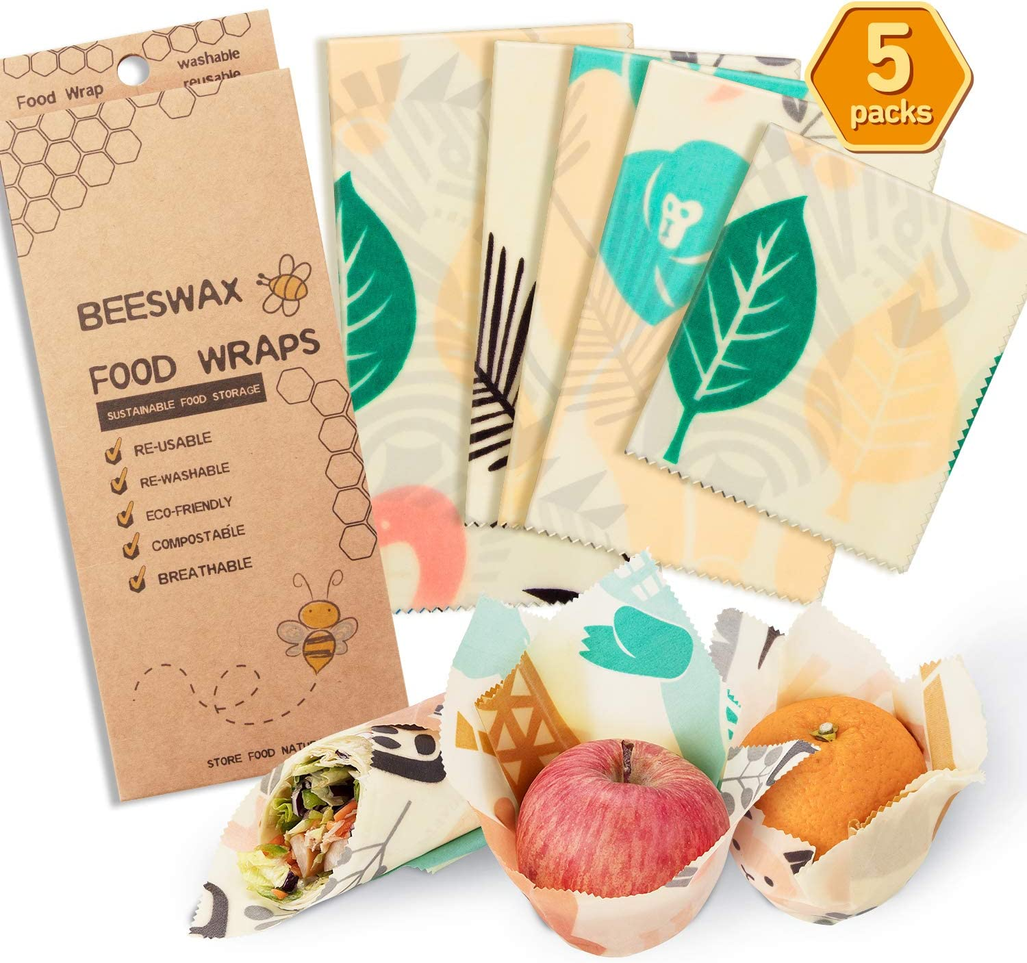 Beeswax Food Wrap Reusable Assorted 5 Packs Food Storage Wrappers Cling Sandwich Eco Friendly Reusable Food Wraps - 1 Small, 3 Medium, 1 Large- Say Goodbye to Plastic (Animal)