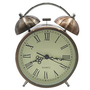 EASEHOME Doble Campanas Reloj Despertador de Cuarzo Analógico, Vintage Despertadores Silencioso sin Tictac Despertadores de Mesita Relojes Alarma Fuerte Luz ...
