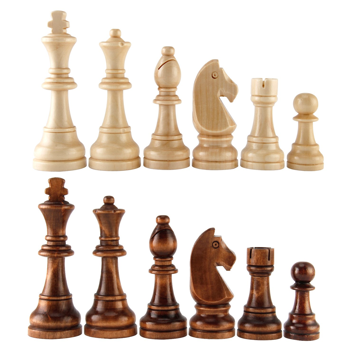 AMEROUS Chess Pawns Wooden Chessmen with 4.55'' King Nature Wood Chess Pieces Hand Carved Figure Figurine, French Staunton Style