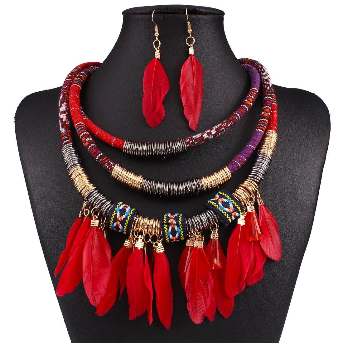 ZeHui Ensemble de bijoux Collier plastron multi-couches à plumes Style tribal Boucles d'oreilles, rouge