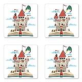 Lunarable Castle Coaster Set of Four, Pop Up Book