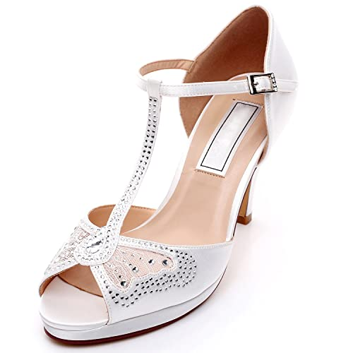 f2c46a41c797 YOOZIRI Wedding Shoes with Silver Rhinestone and Lace Butterfly Bridal  Sandals Medium Heels 3.5 inch-