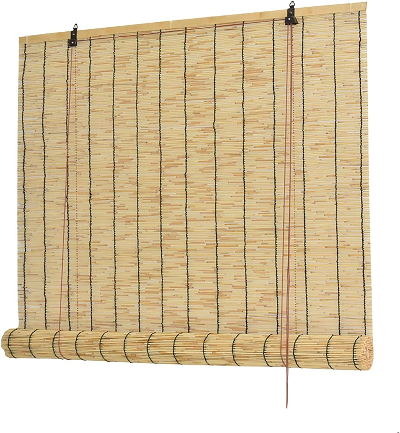 QWEASDF Natural Roll-up Reed Shade, Bamboo Light Filtering Roller Shades, Bamboo Roman Window Blinds, Hand Weave, for Terrace, Garden, Indoor Outdoor Sunshade Home Decoration,90x120cm/36x48in
