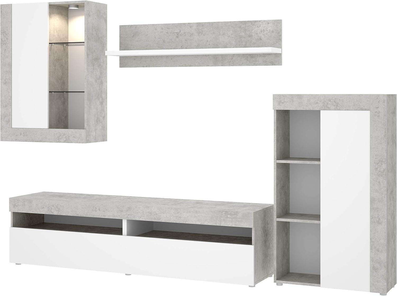Mobelcenter - Mueble de Salón Tokio - Módulo TV, Módulo con estantes, Módulo Superior y Estante - Acabado en Color Cemento y Blanco - Medidas: Ancho: 254 cm x Alto: 112 cm x Fondo: 42 cm - (1200)