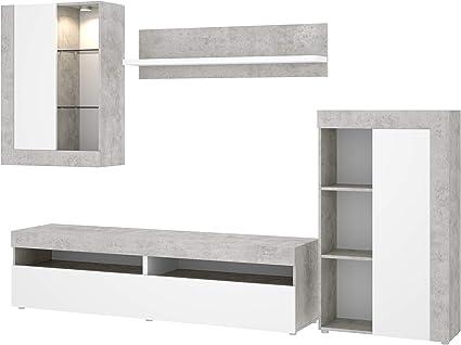 Mobelcenter - Mueble de Salón Tokio - Módulo TV, Módulo con estantes, Módulo Superior y Estante - Acabado en Color Cemento y Blanco - Medidas: Ancho: ...