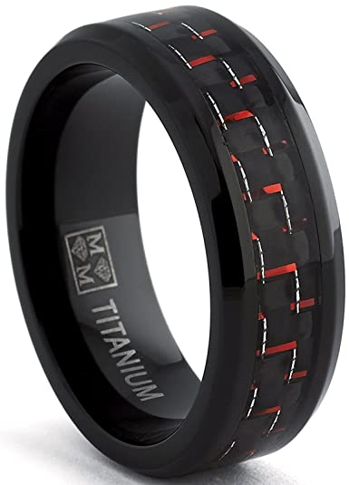 Black Titanium Wedding Band Ring with Black and Red Carbon Fiber