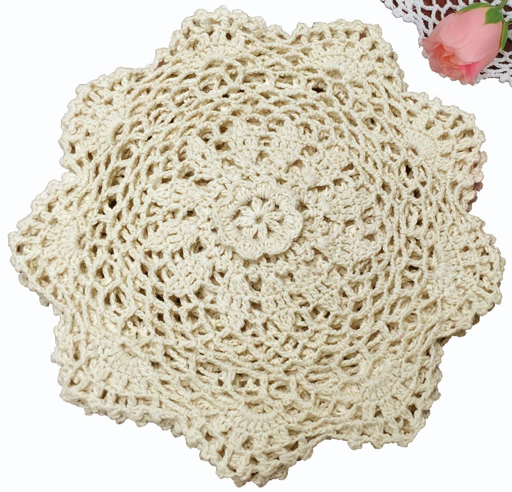 6PCS 8'' Round Crochet Lace Doily BEIGE 100% Cotton Handmade, Set of 6 Pieces