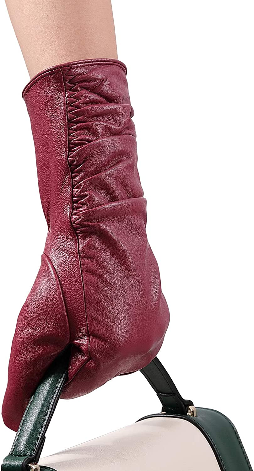 Short Bow /& Cut Out Womens Ladies Warm Red Vintage Driving Gloves