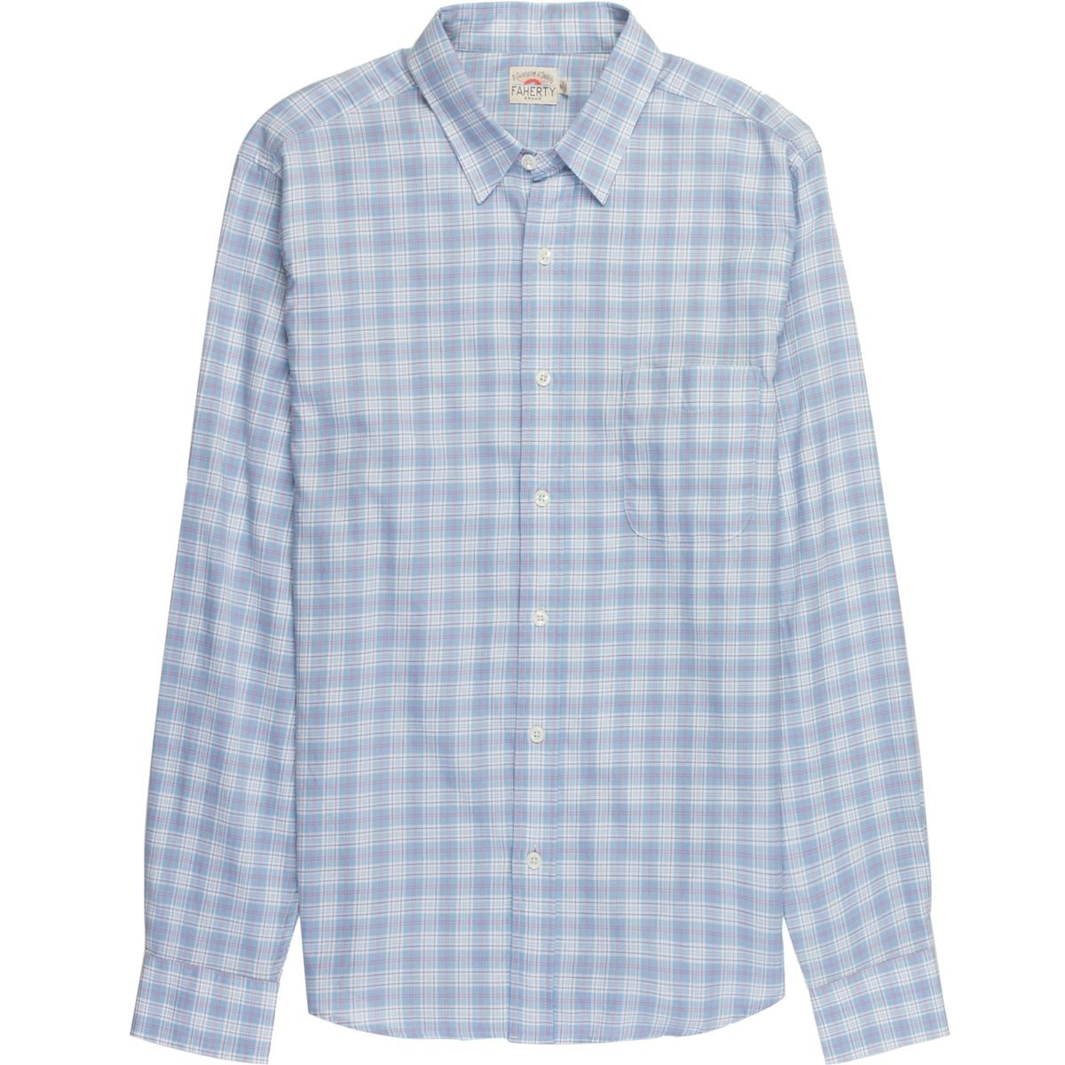 7fe68bf8 Amazon.com: Faherty Men's Signature Washed Twill Shirt Navy Windowpane:  Clothing