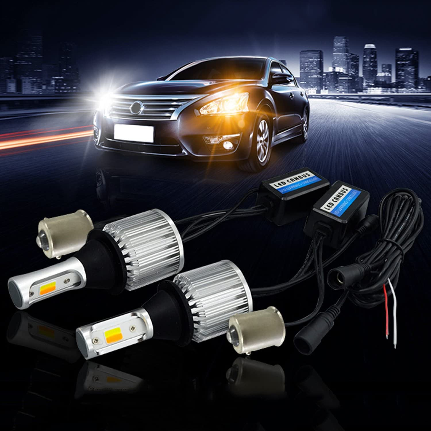 SOCAL-LED 2x BA15s 1156 LED Bulb Switchback Extremely Bright 30W 3000LM COB High Power DRL Turn Signal Light Kit, Canbus Error LED Free Decoder Resistor, White/Amber