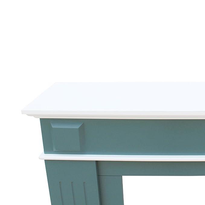 Mobili Rebecca® Marco de Chimenea Falsa para Pared Decoración Moderna Madera Mdf Blanco Verde Dormitorio Sala de Estar (Cod. RE6054)