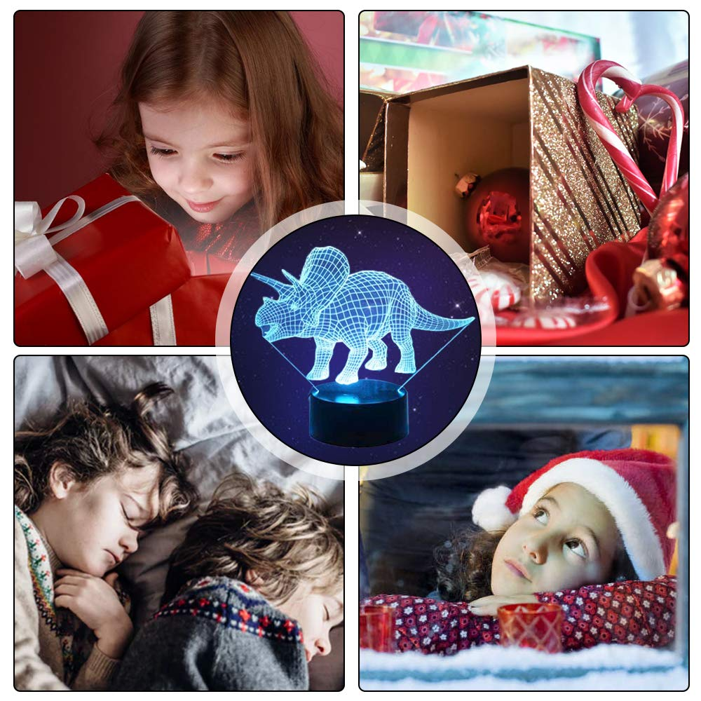 with Remote /& Smart Touch 7 Colors JUOIFIP Dinosaur Night Light for Kids(3 Dinosaurs) Rex, Triceratops, Brontosaurus 16 Colors Changing Dimmable Dinosaur Toys Birthday