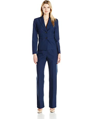 21749e62423 Le Suit Women s Two Button Navy Pant Suit