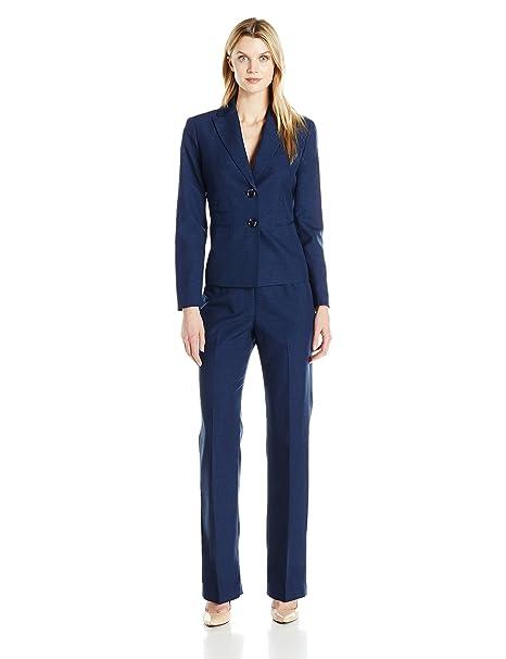 Le Suit Womens Two Button Navy Pant Suit