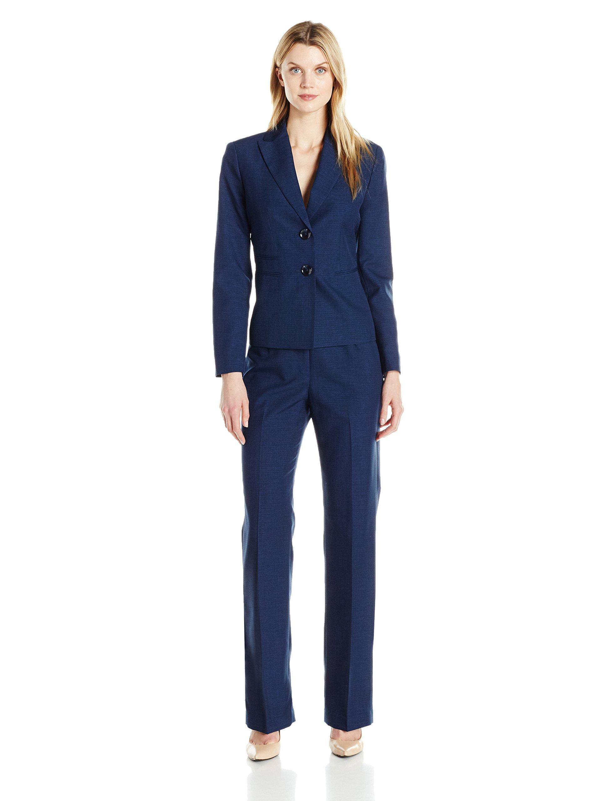 Le Suit Women's Two Button Pant Suit, Navy, 14