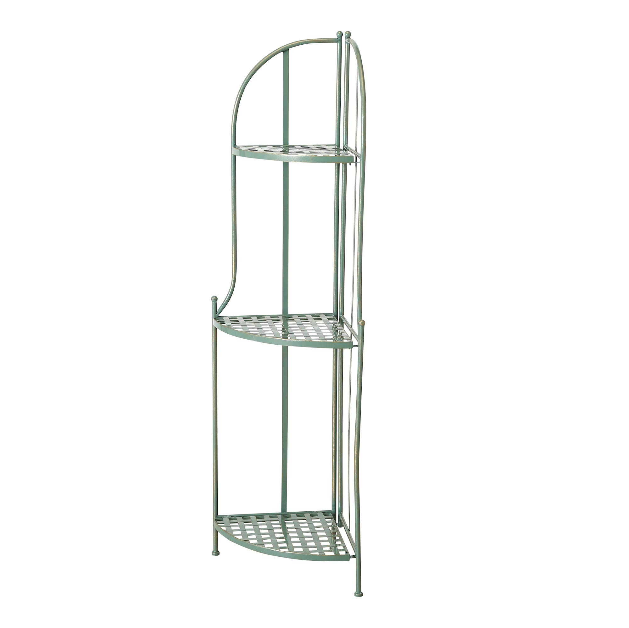 Charlton Street Corner Rack, 3 Shelves, Rustic Green with Terracotta Undertone, Paint Rubbed Distressing, Vintage Style, Iron, Woven Details, Folding, 4 Feet 7 Inches Tall, Indoor or Outdoor Use