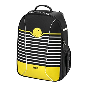 HERLITZ Sac à dos loisir, Smiley Black & Yellow Stripes 50015160