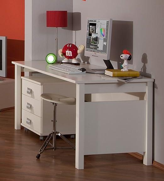 Dreams4Home escritorio Bina, Alpin Color Blanco, con cajonera ...