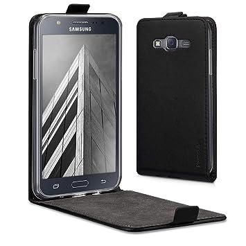 kwmobile Funda para Samsung Galaxy J5 (2015) - Carcasa para móvil de Cuero sintético - Case Plegable en Negro