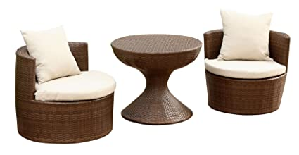 Image Unavailable - Amazon.com: Abbyson Palermo Outdoor Wicker 3-Piece Chair Set, Brown