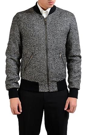 73f292fb5 Amazon.com: Dolce & Gabbana Men's Wool Full Zip Bomber Jacket US S ...