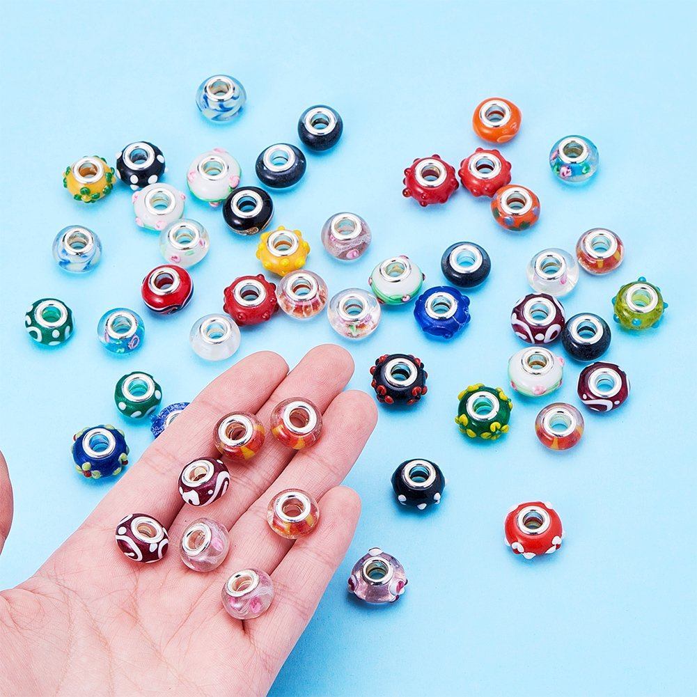 Pandahall 100PCS 14x9mm Mixed Styles Handmade Lampwork European Style Beads with Plating Silver Double Core, Mixed Color by PH PandaHall (Image #7)