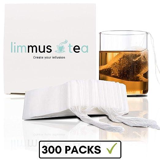 Limmus 300 Packs Bolsa de Té de Hierbas de Filtro de Tela Bolsas con Cordón Cierre Tea Bags desechable Bio (5.5 * 7 cm) France, Blanco, 5,5x7cm