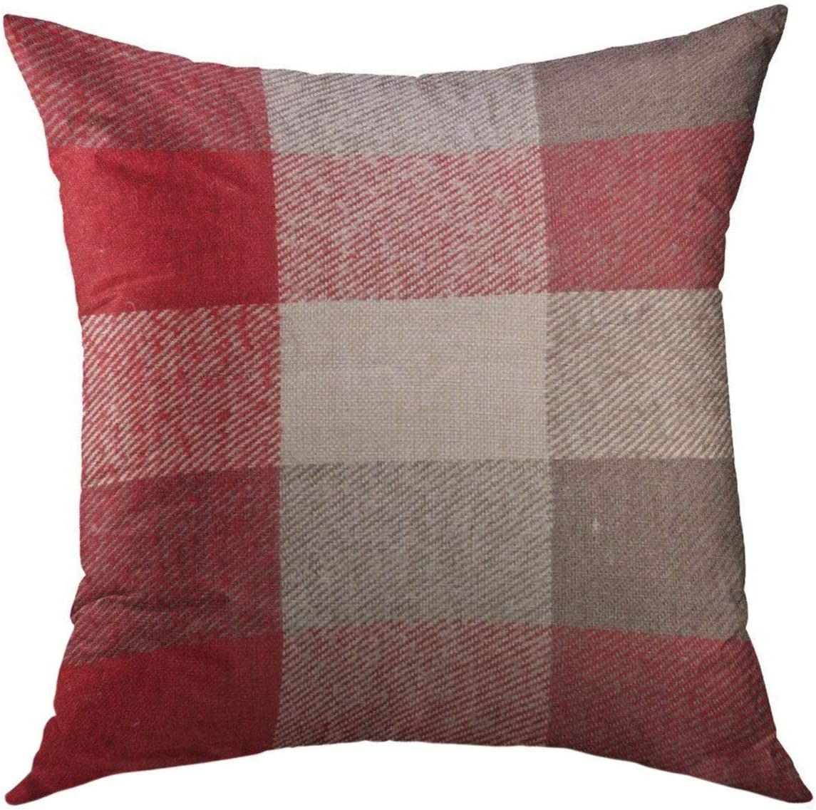 Mugod Decorative Throw Pillow Cover for Couch Sofa,Plaid Red Grey Tartan Material As Fuzzy Stripes Home Decor Pillow Case 18x18 Inch