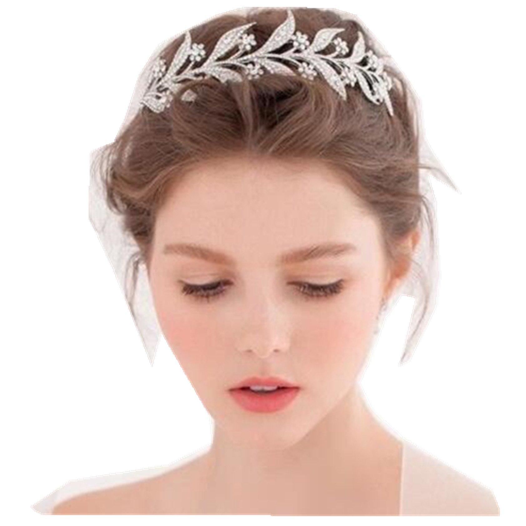 Bridal leave silver tone rhinestone party crown headpiece Hair tiara Leaves Crowns(#52)