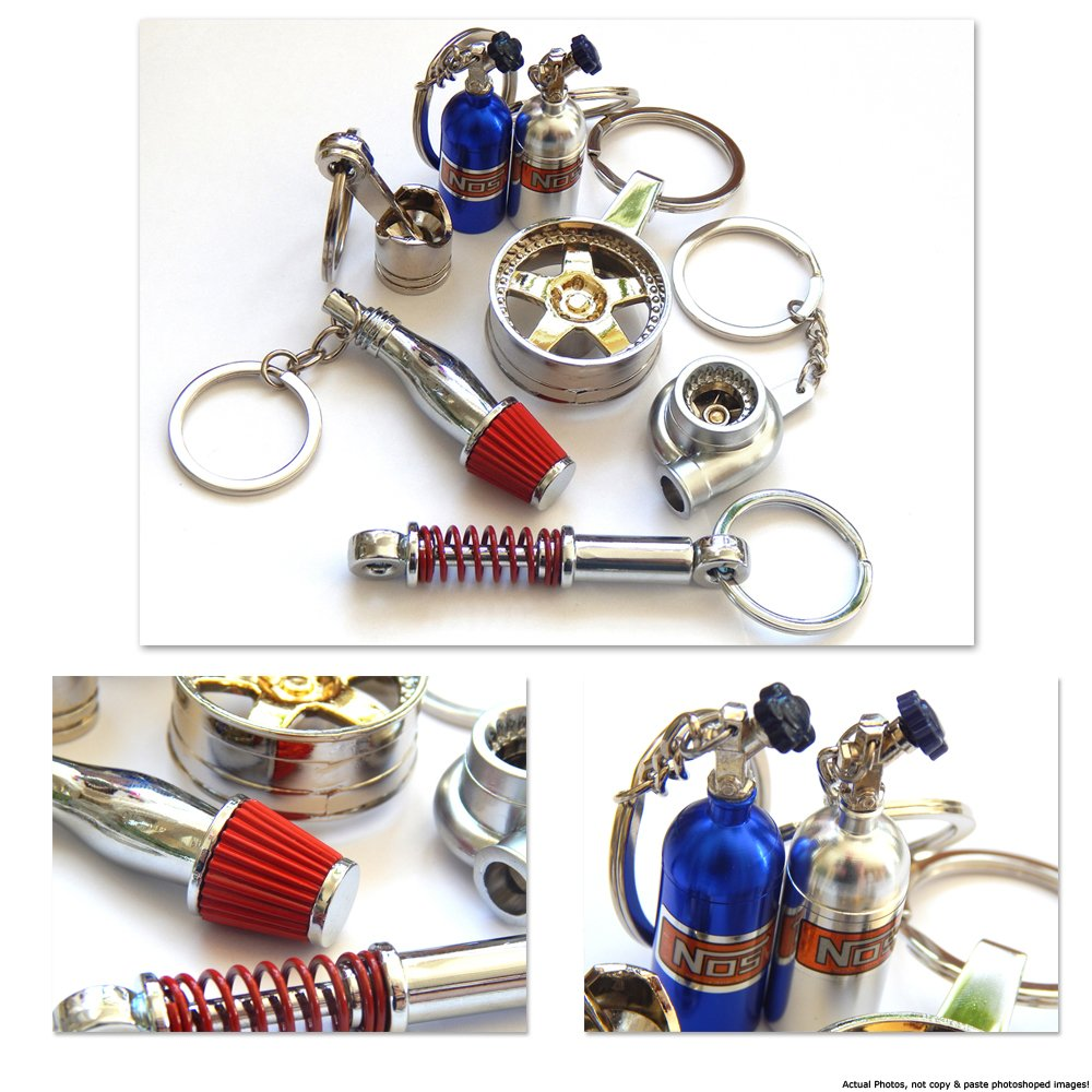 NOS NITROUS OXIDE Blue Can Performance Racing Car Style Quality Chrome Keyring