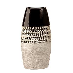 Moderno vaso Dekovase vaso in ceramica antracite / argento altezza 26 cm