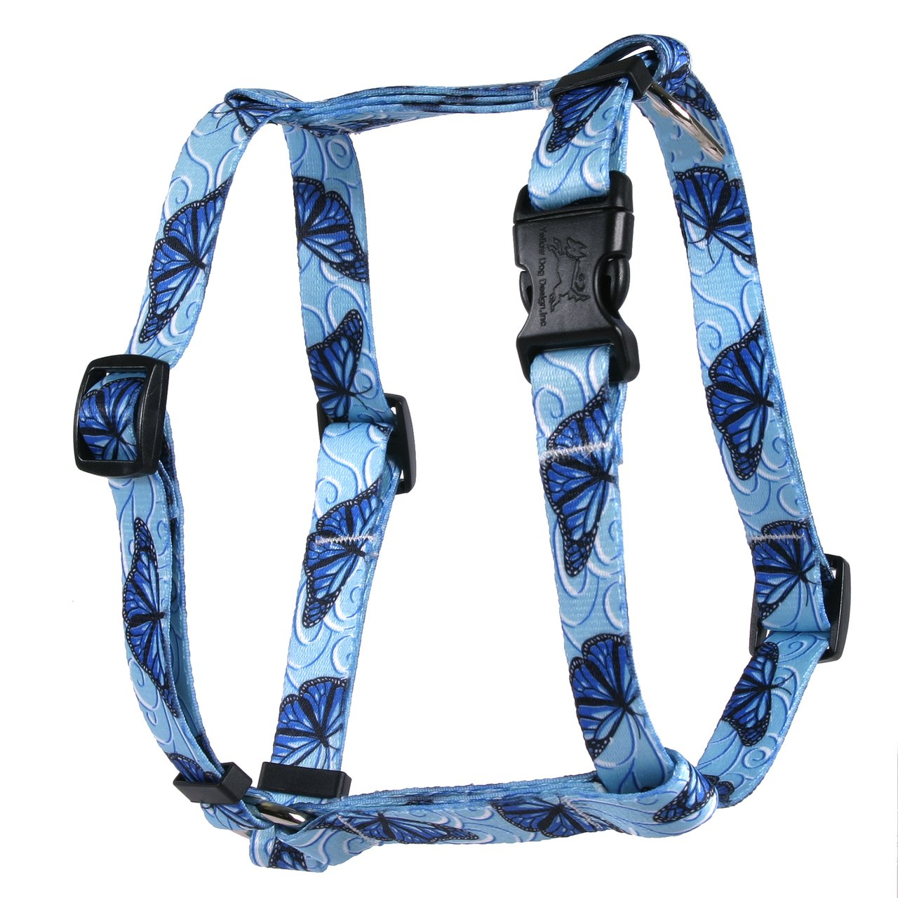 Yellow Dog Design Blue Butterfly Swirl Roman Style H Dog Harness, X-Large/1'' Wide by Yellow Dog Design (Image #1)