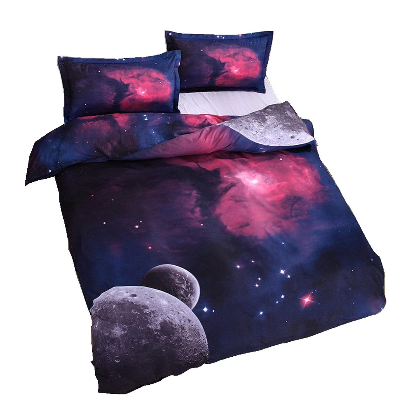 ギャラクシー寝具セット オイルプリントの掛け布団カバーセット 少年少女用のキッズ寝具 ティーンズ用寝具セット クイーン パープル Galaxycom B01LYGEJLZ クイーン|2 2 クイーン