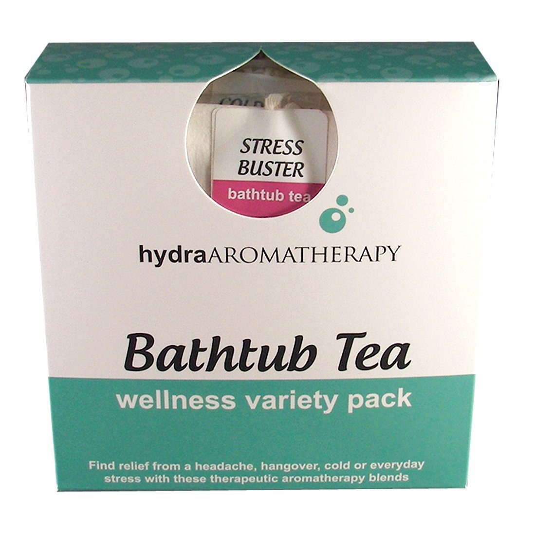 hydraAromatherapy Bathtub Tea-Wellness Variety Pack Cold & Flu Buster, Hangover Buster, Headache Buster and Stress Buster Bathtub Teas by hydraAromatherapy