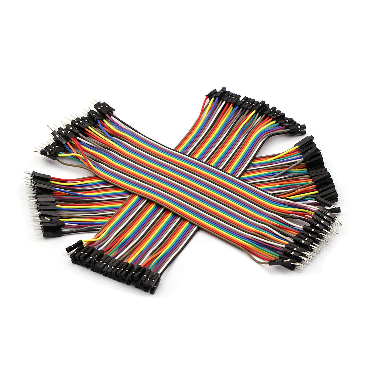 DaFuRui 120pcs 21cm Multicolor Dupont Wire Breadboard Jumper Wire 40 pines macho a hembra, 40 pines macho a macho, 40 pi