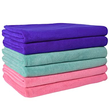 JML Microfiber Towels, Green/Blue/Pink, 27  x 55  (6-Pack)
