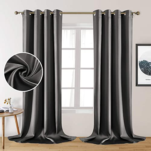 HOMEIDEAS 2 Panels Dark Grey Faux Silk Curtains Gray Blackout Curtain