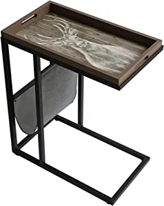 Smartly Designed Multi-Function end Table, Side Table with a Movable Decorative Tray, Sofa/Couch Side Table with Storage Pocket Living Room, C Shape Table for Coffee Laptop