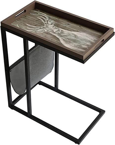 Amazon.com: QINGSHAN C Table End Table, Sofa Side Table With Removable Tray Top, Side Couch Table With Storage Pocket Living Room, C Shaped Snack Table For Small Space,Black (elk): Kitchen & Dining