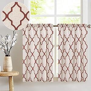 "jinchan Moroccan Print Tier Curtains for Kitchen Modern Cafe Half Window Panels Flax Linen Blend Textured Curtain Set 1 Pair 26"" W x 45"" L Terra Red"