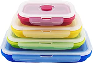 Collapsible Food Storage Containers with Lids, Set of 4 Silicone Collapsible Storage Containers and Vent Valve for Leftover Meal and Bento Lunch Boxes, BPA Free, Microwave, Dishwasher and Freezer Safe