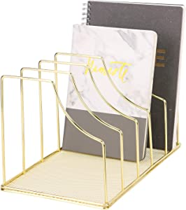 Simmer Stone File Sorter Organizer, 5 Section Magazine Holder Rack, Desktop Wire Book Stand for Mail, Paper, Document, Folder, Record and Desk Accessories, Gold